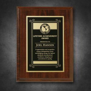 Engraved Plaque Walnut Finish