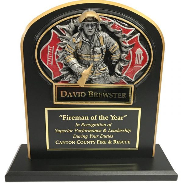 Firefighter Trophy with Burst Thru Casting