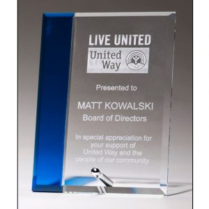 Blue Accented Glass Plaque Award