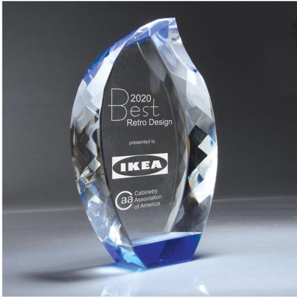 Blue Diamond Faceted Teardrop Optic Crystal Award
