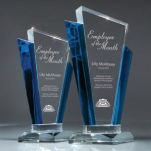 Stratford Blue Marquee Glass Award