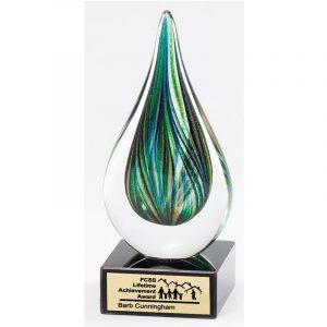 Green Splash Art Glass Recognition Award