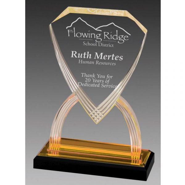 Gold Reflections Shield Acrylic Award