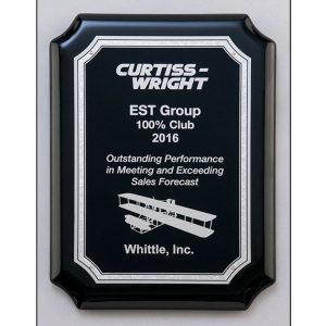 Black Piano Finish Silver Notched Corners Plaque