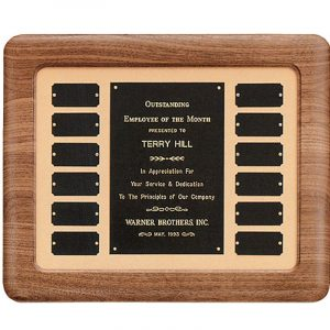 Walnut Frame Tan Background 12 Plate Perpetual Plaque