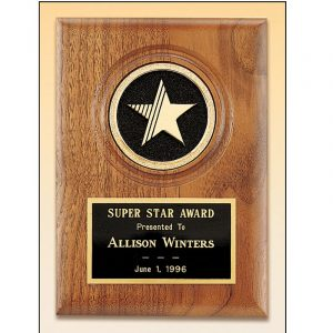 Heavy Die Cast Star Round Metal Insert Walnut Plaque