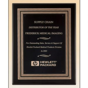 Black Embossed Plate Black Piano Finish Plaque