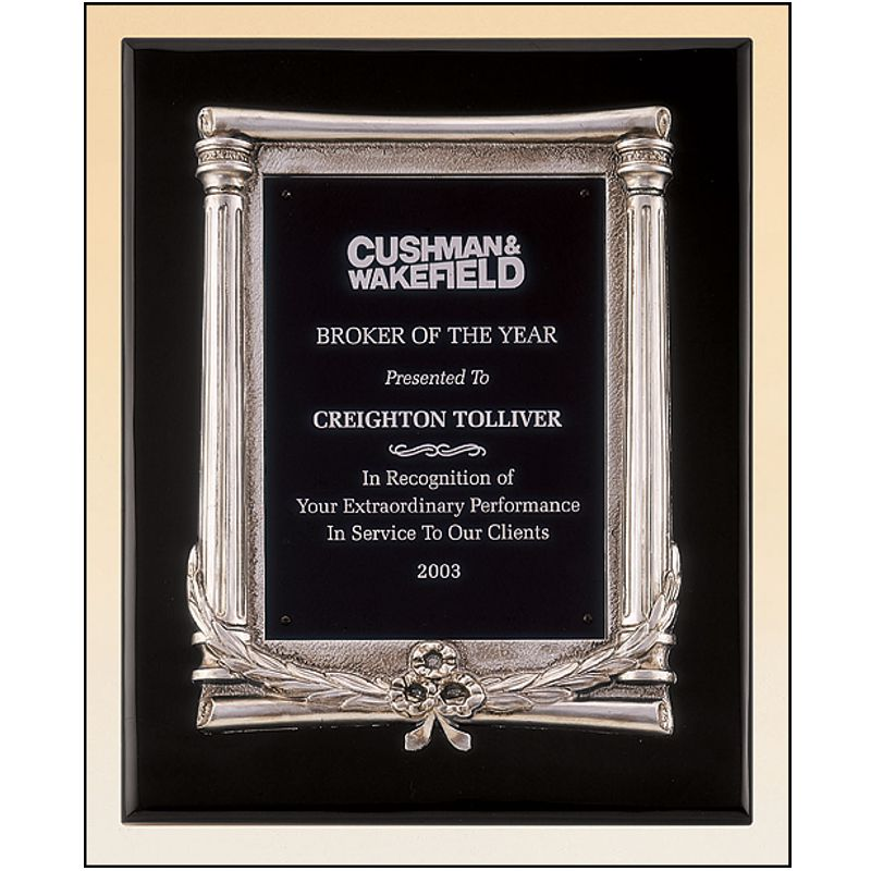 Black Piano Finish Plaque Features Silver Casting