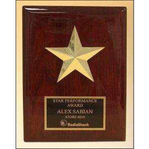 Gold Star Performer Award Plaque