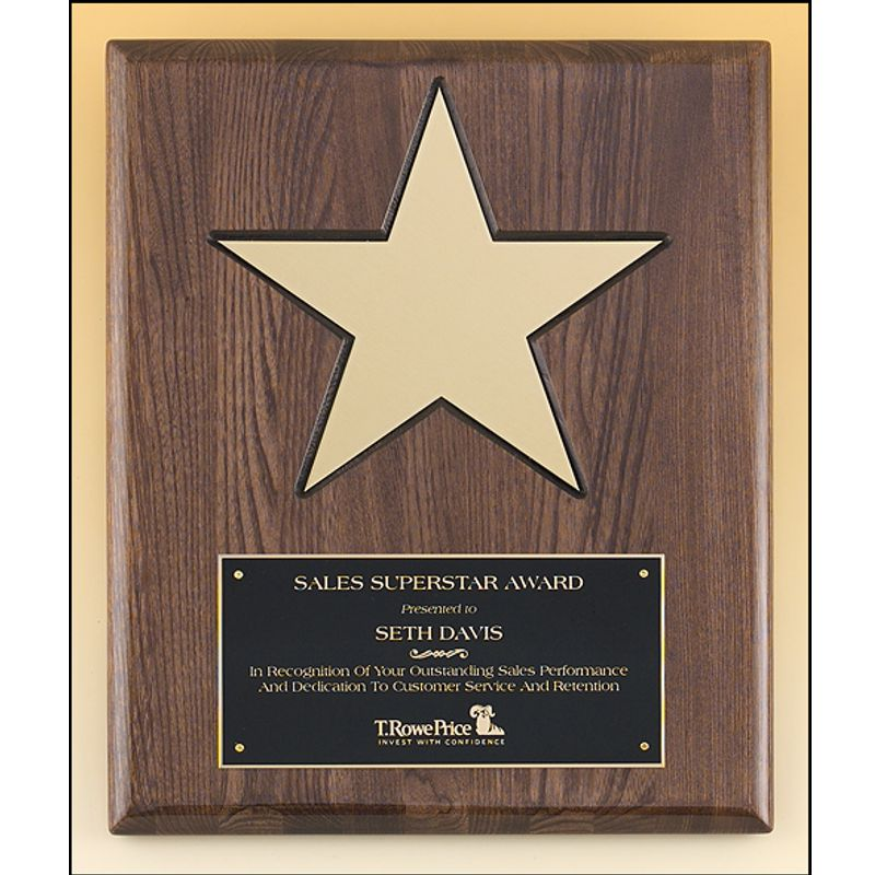 Walnut Piano Finish Star Plaque Features Free Freight