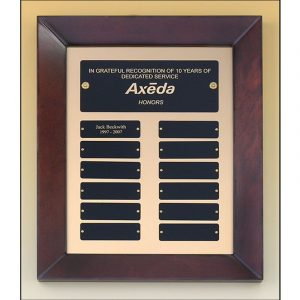 Cherry Finish Frame 12 Plate Perpetual Plaque