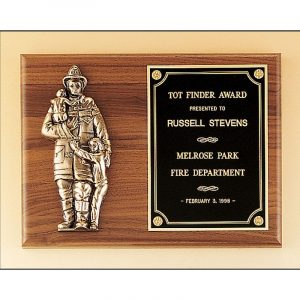 Fireman's Walnut Award Plaque