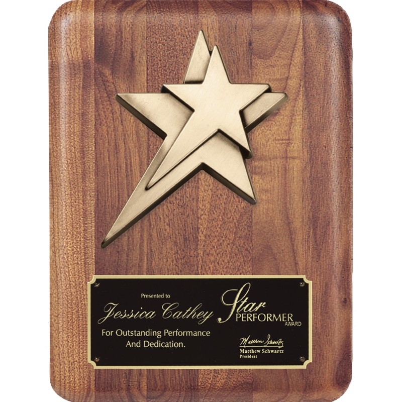 Star Achiever Walnut Award Plaque