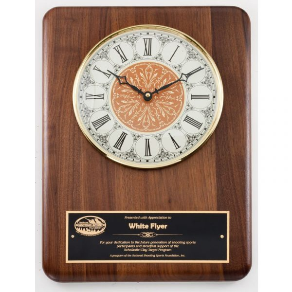 Genuine Walnut Vintage Face Clock Plaque