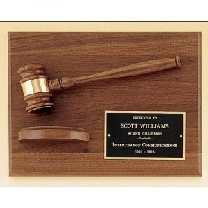 Gavel Sounding Block Walnut Plaque Award