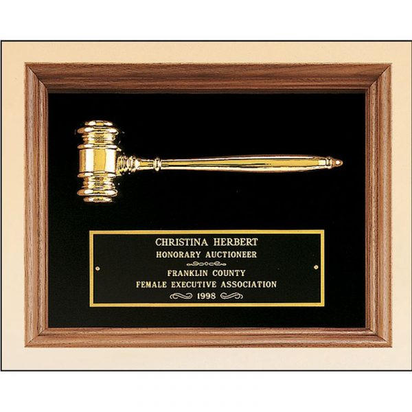 Gold Electroplated Gavel Walnut Framed Plaque