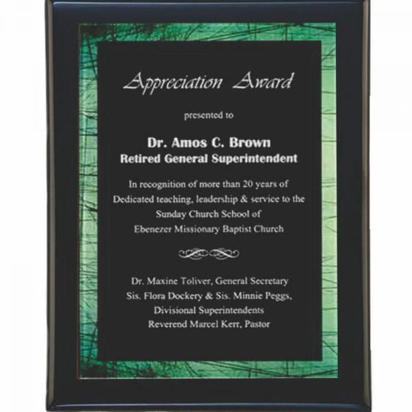 Green Border Acrylic Plated Plaque Award