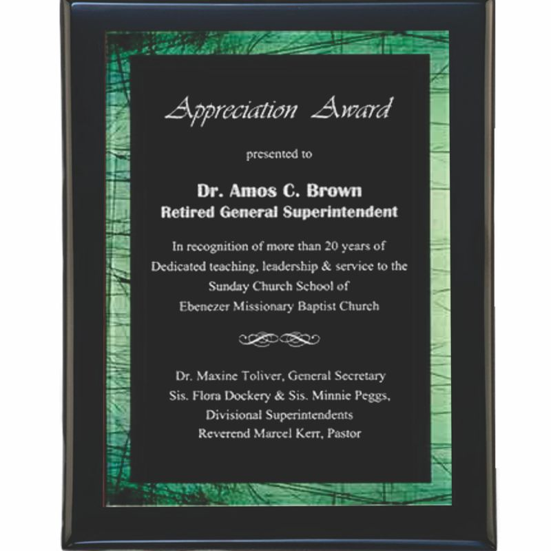 Green Border Acrylic Plated Plaque Award