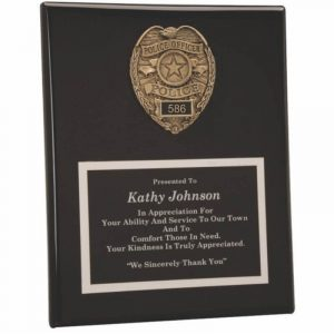 Police Badge Casting Black Piano Finish Plaque