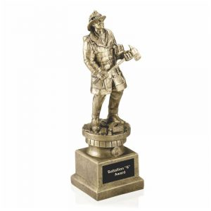 Modern Firefighter Antique Gold Tribute Statue