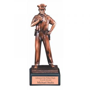 Policeman Statue Electroplated Bronze Finish