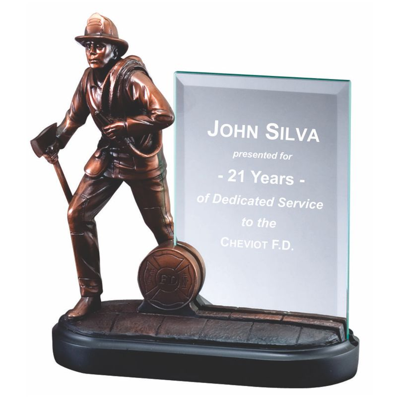 Fireman Statue Bronze Finished Glass Plaque