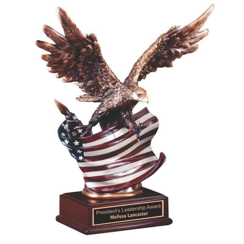 Antique Bronze Eagle American Flag Resin Award