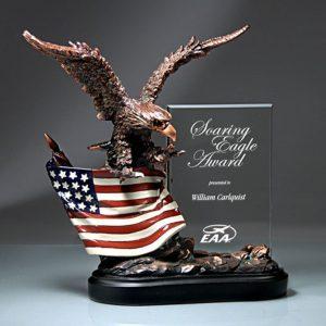 Bronze Eagle Sculpture Crystal Plaque