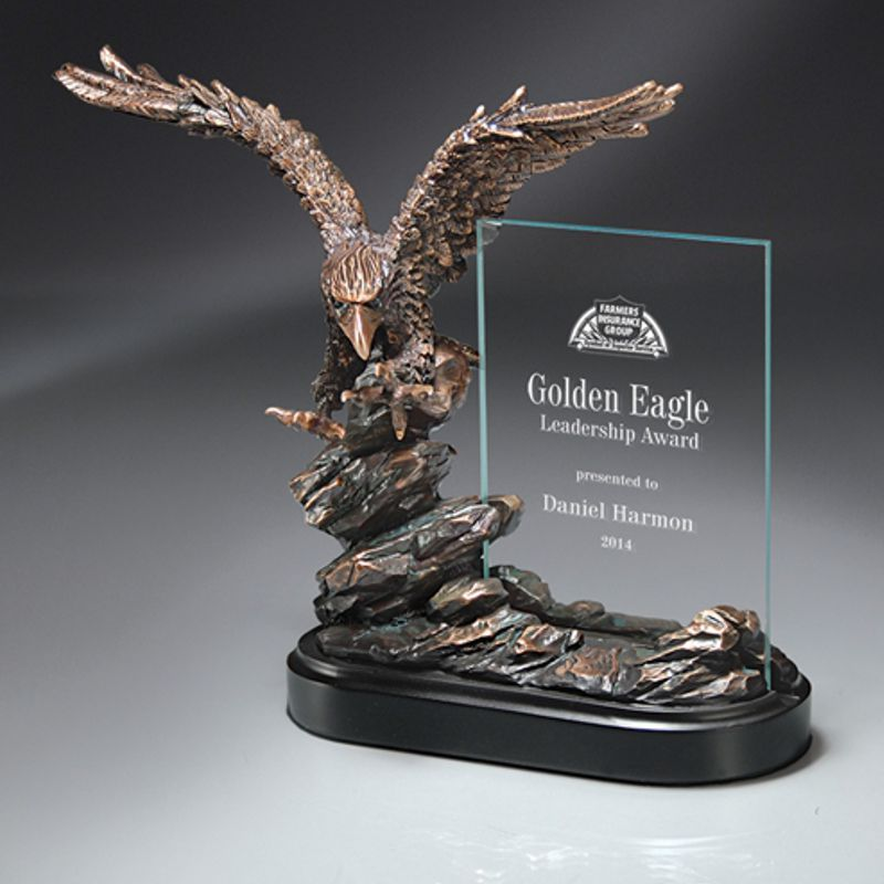 Landing Eagle Sculpture Glass Plaque