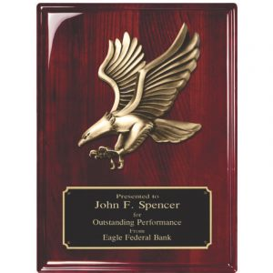 Modern Antique Gold Eagle Plaque Rosewood Finish