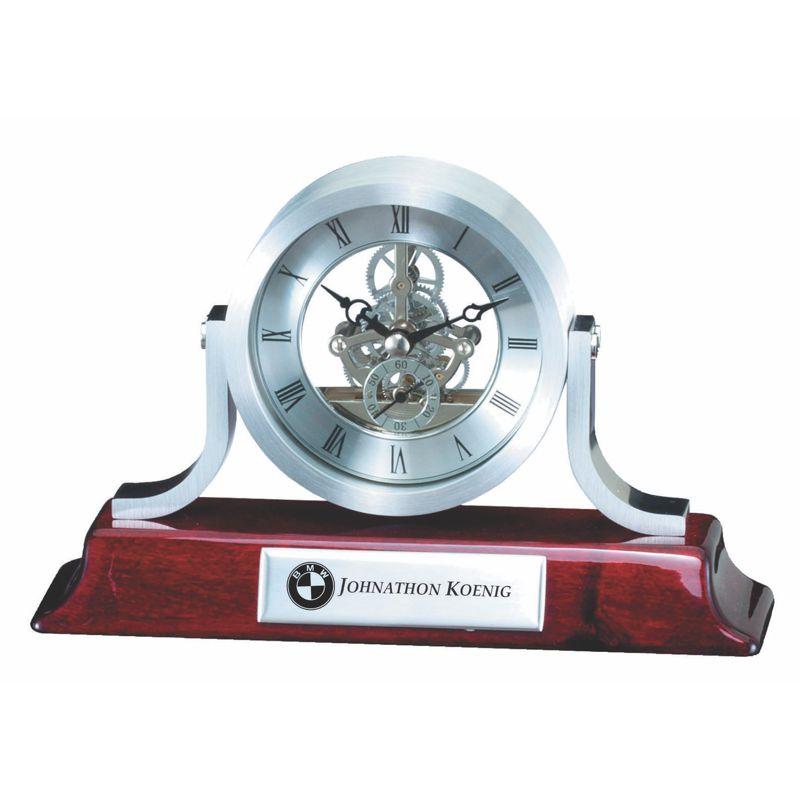 Silver Skeleton Quartz Desk Clock Award