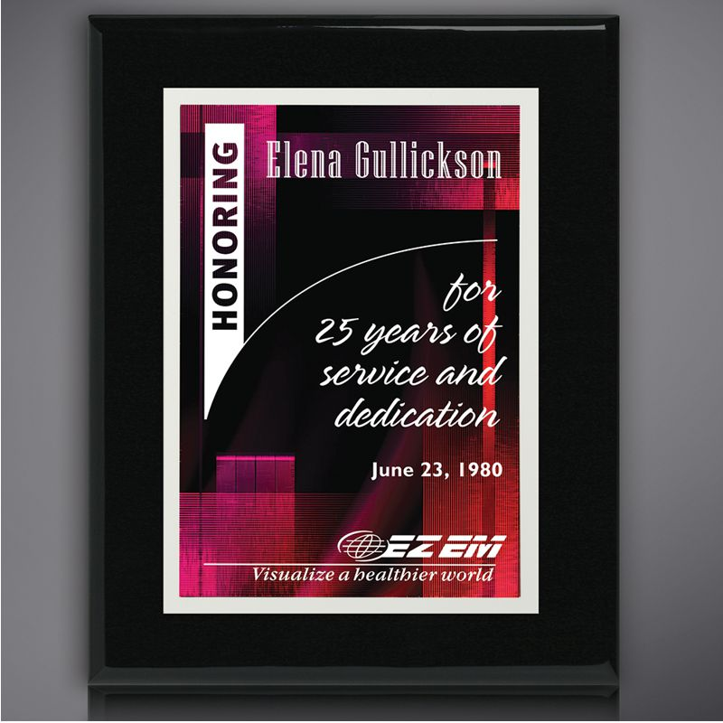 Personalized Full Color Black Award Plaque