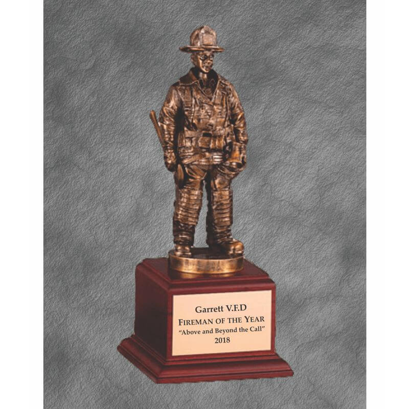 Fireman of the Year Award Bronze Finish Statue