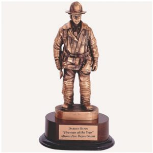 Fireman Statue Retirement Award Antique Bronze Finish
