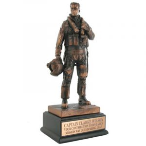 Antique Bronze Air Force Fighter Pilot Statue Beautifully detailed in electroplated bronze resin.