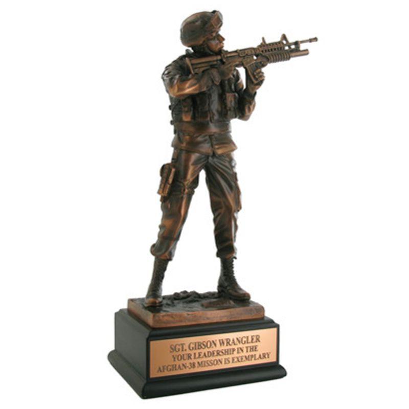 Antique Bronze Army Combat Statue