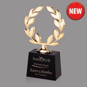 Gold Laurels Cast Metal Achievement Trophy