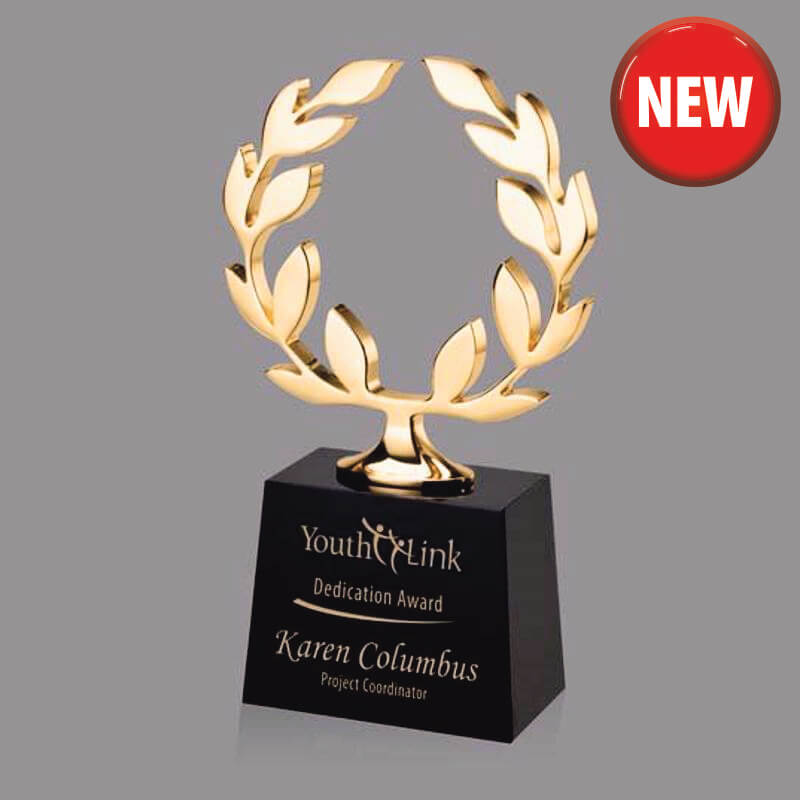 Gold Laurels Cast Metal Achievement Trophy
