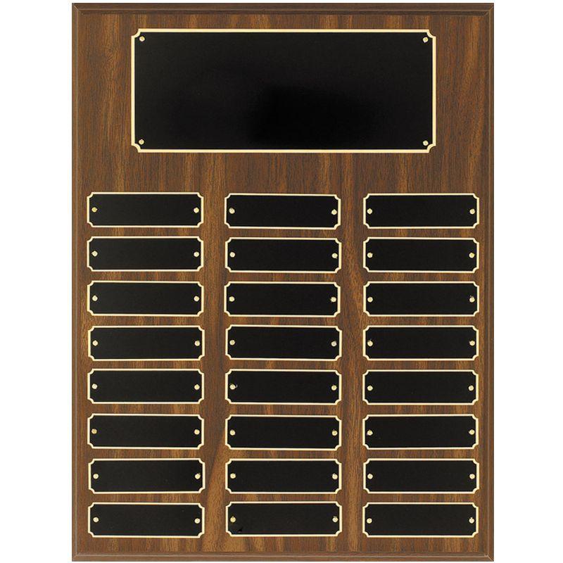 Walnut Finish 24 Plate Perpetual Plaque Awardmakers