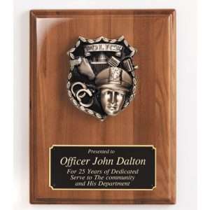 Policeman Casting Walnut Piano Finish Plaque Award