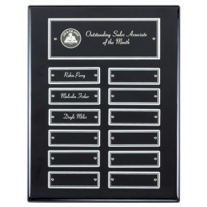 Employee Monthly Recognition Ebony Silver Plaque