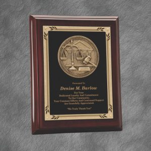Law Legal Casting Rosewood Piano Finish Plaque