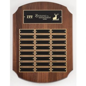 American Walnut 24 Plate Perpetual Shield Plaque