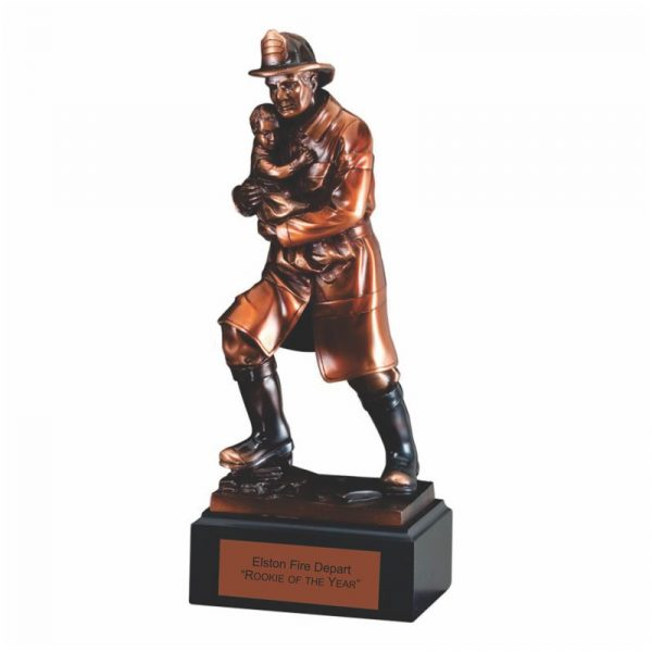 Fireman Rescuing Child Electroplated Bronze Finish Statue