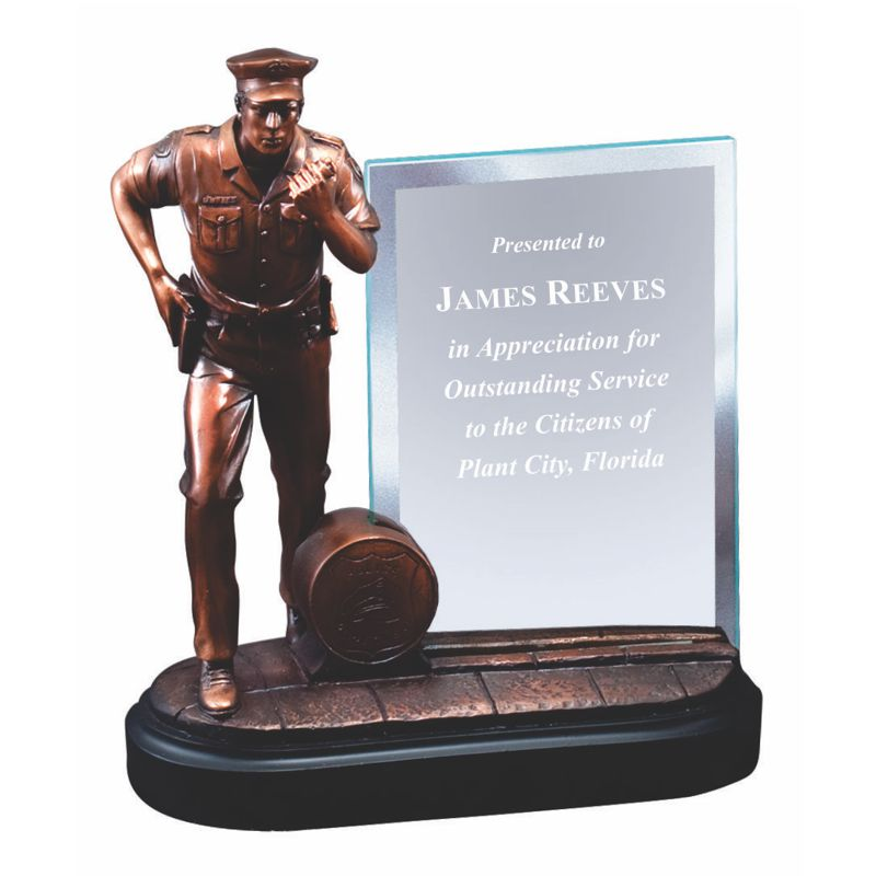 Bronze Finished Police Statue Glass Plaque